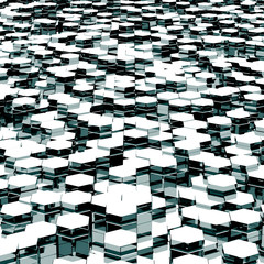 design element. 3D illustration. rendering. abstract white  hexagons industrial background