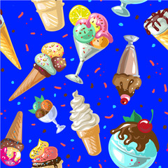 Icecream seamless pattern design vector