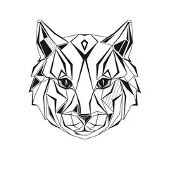 Young cat stylized triangle polygonal model