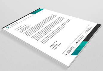 Business Letterhead Layout with Teal Accents 2