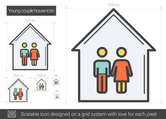 Young couple house line icon.