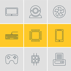 Vector Illustration Of 9 Computer Icons. Editable Pack Of Tablet, Printer, Smartphone And Other Elements.
