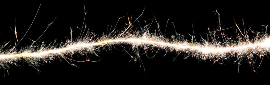 Wave of sparks and light background