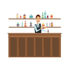 The man at the bar. Vector illustration on a white background.