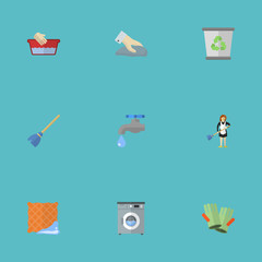 Flat Icons Washcloth, Gauntlet, Garbage Container And Other Vector Elements. Set Of Hygiene Flat Icons Symbols Also Includes Washing, Besom, Junk Objects.