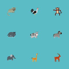 Flat Icons Chimpanzee, Rooster, Kine And Other Vector Elements. Set Of Zoo Flat Icons Symbols Also Includes Chimpanzee, Cow, Mammal Objects.