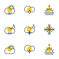 Vector Illustration Of 9 Weather Icons. Editable Pack Of Rain, Cloud, Sunset And Other Elements.