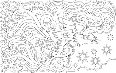 Black and white page for coloring. Magic flying bird. Worksheet for children and adults. Vector image.