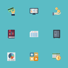 Flat Icons Profit, Book, Algebra And Other Vector Elements. Set Of Recording Flat Icons Symbols Also Includes Calculate, Chart, Report Objects.