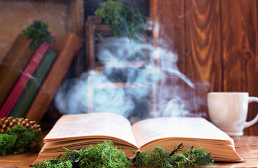 An ancient open book in magical smoke
