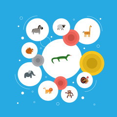 Flat Icons Wildcat, Chimpanzee, Chipmunk And Other Vector Elements. Set Of Animal Flat Icons Symbols Also Includes Wildcat, Forest, Chipmunk Objects.