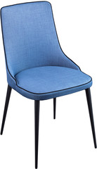 Designer blue dining chair on black metal legs. Modern soft chair isolated on white background.