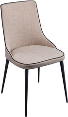 Designer gray dining chair on black metal legs. Modern soft chair isolated on white background.
