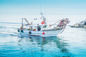 a fishing boat on the sea