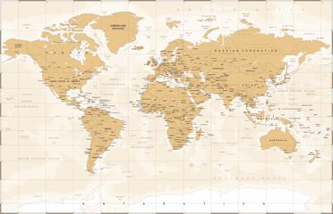 Foto op Plexiglas Wereldkaart Vintage World Map - Vector Illustration