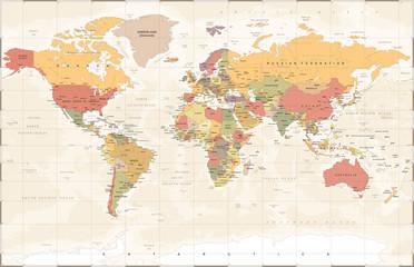 Spoed Foto op Canvas Wereldkaart Vintage World Map - Vector Illustration