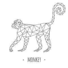 Monkey stylized triangle polygonal model