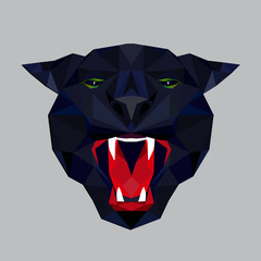Panther stylized triangle polygonal model