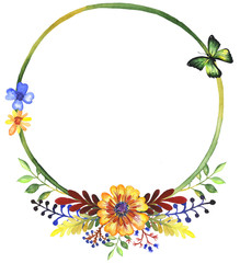 Watercolor frame of wildflowers clip art 3