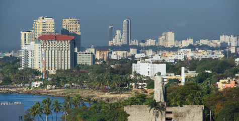 Santo Domingo waterfront, shoreline and shyline - Dominican Republic - Caribbean tropical island