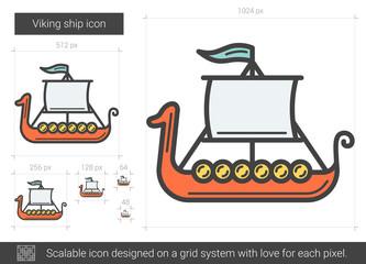 Viking ship line icon.