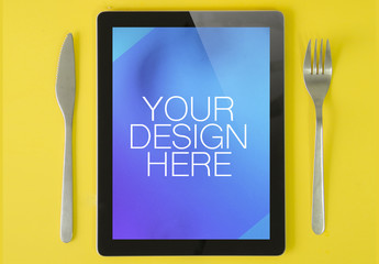 Cutlery and Tablet Mockup 1