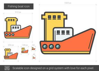 Fishing boat line icon.