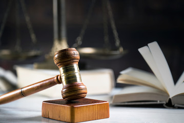 Symbol of law and justice. Concept law and justice. Scales of justice, gavel and book.