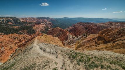 North View Trail and Panorama of Hoodoos Formation in Cedar Breaks National Monument, Brian Head, Utah