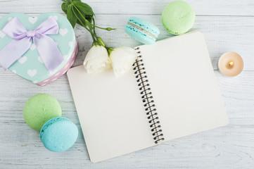 Blank notebook, green blue macaroons, gift