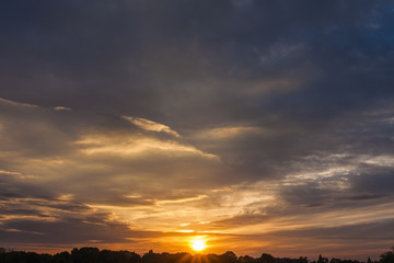 Sunset sky for backgrounds and sky replacement