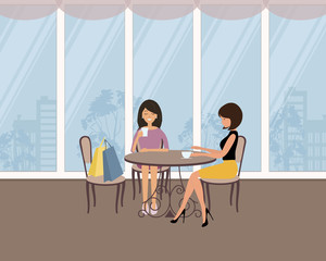 Two girls in the cafe. There are women, sitting at the table and drinking coffee on a window background in the picture. Vector flat illustration.