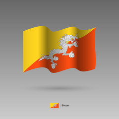 Bhutan flag. Official colors and proportion correctly. High detailed vector illustration. 3d and isometry. EPS10