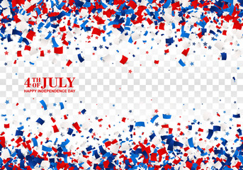 4th of July festive seamless background. American Happy Independence Day design concept with falling papers, stars in traditional American colors - red, white, blue. Isolated.