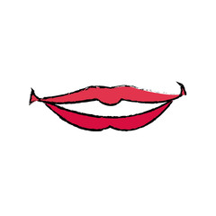 female lips with lipstick a smile vector illustration
