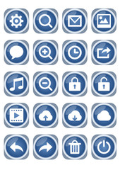 Web icon mega set, blue metallic icons with white pictograms, zoom, speech bubble, lock, cloud, trash and other
