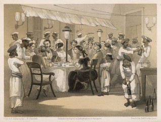 English dinner party in India with servants. Date: 1860