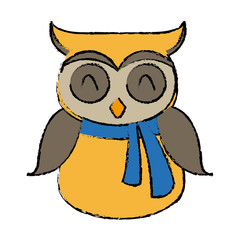 christmas owl character bird funny vector illustration