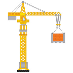 Vector Construction Crane. Vector Crane.
