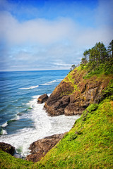 A coastal view from the North Head lighthouse in Cape Disappointment State Park in Washington, USA.  The North Head lighthouse was built to compliment the nearby Cape Disappointment lighthouse.