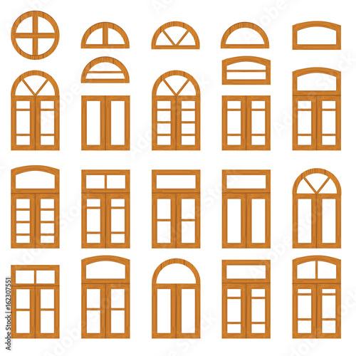 Set of vintage wood or wooden window frames view . Retro plastic ...