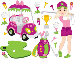 Vector Golf Set with Girl Playing Golf and Golf Accessories. Vector Golfer. Golf Vector Illustration.