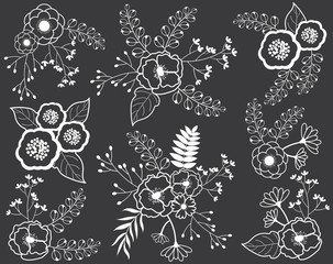 Vector Floral Bouquets on Chalkboard. Black and White Flowers on Blackboard Background.