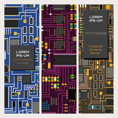 Computer chip technology processor circuit motherboard information system vector illustration