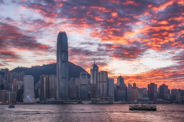 Hong Kong city in the glow of sunset