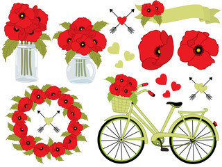 Vector Floral Set  with Poppies, Wreath, Mason Jar, Bicycle with Basket. Poppy Vector Illustration.