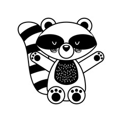 Animal raccoon cartoon icon vector illustration design draw