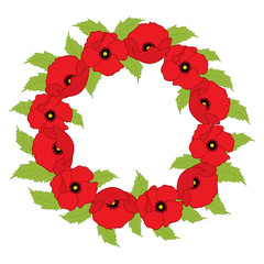 Vector Wreath with Poppies. Poppy vector illustration.