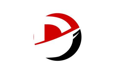 D Red Circle Swoosh Letter Logo