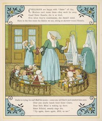 Babies in a French nursery run by nuns. Date: 1882